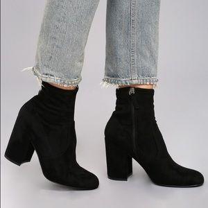 Steve Madden Gaze Black Suede Sock Booties 7.5